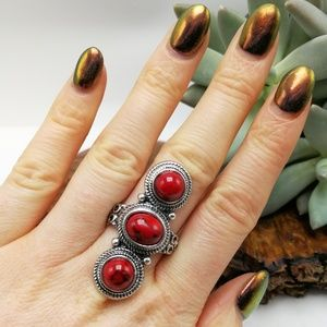 Jewelry - ❇️HP❇️red coral turquoise silver vintage three